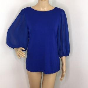 Vince Camuto Blue Blouse with Balloon Sheer Sleeve